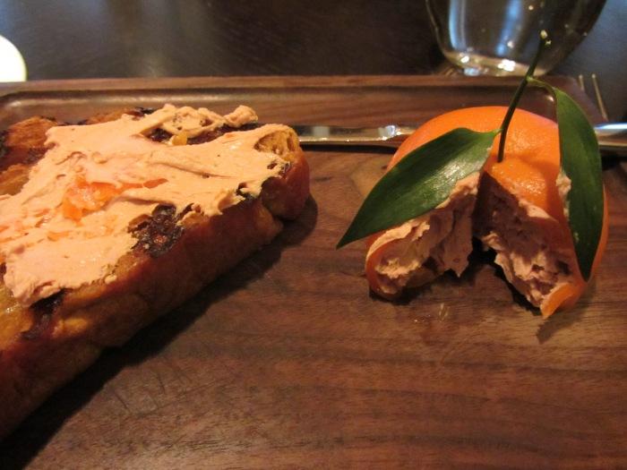 Meat Fruit (c.1500) Mandarin, chicken liver & foie gras parfait, grilled bread