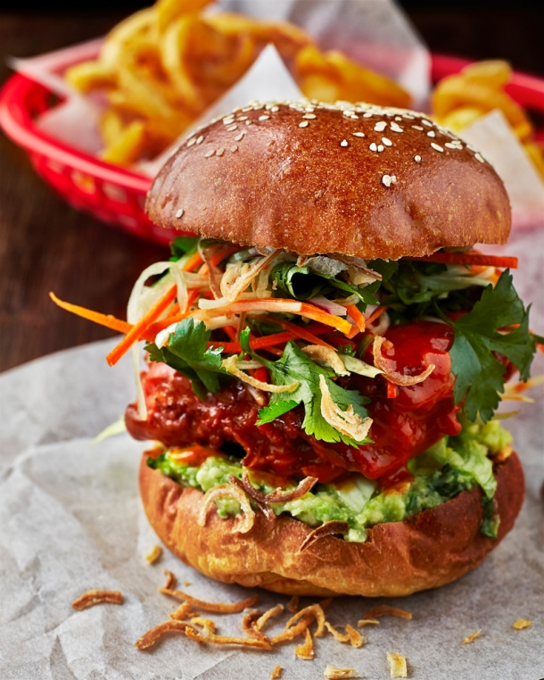 Mahiki Zinger - buttermilk fried chicken thigh, avocado, slaw, hot sauce (1)