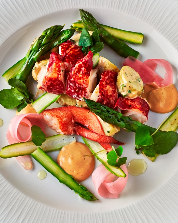 Native lobster salad, asparagus, pickled radish, lobster cracker