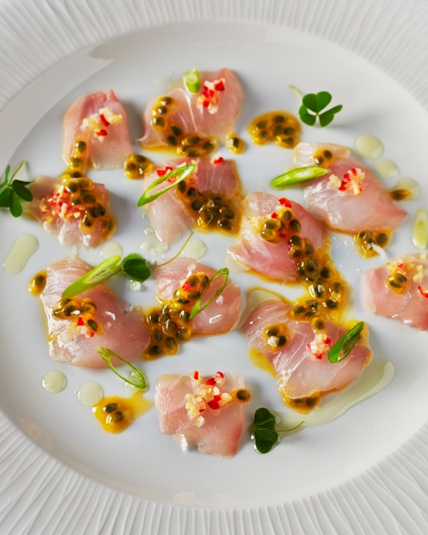 Wild raw sea bass w passionfruit & pickled ginger