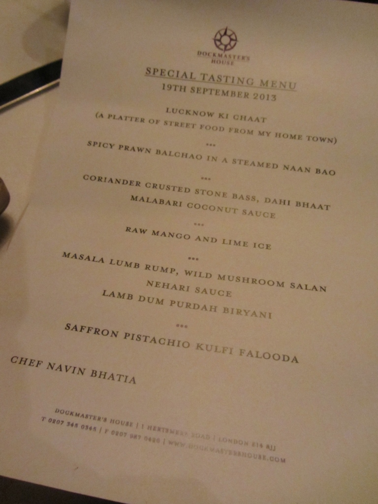 Dockmaster's House special tasting menu