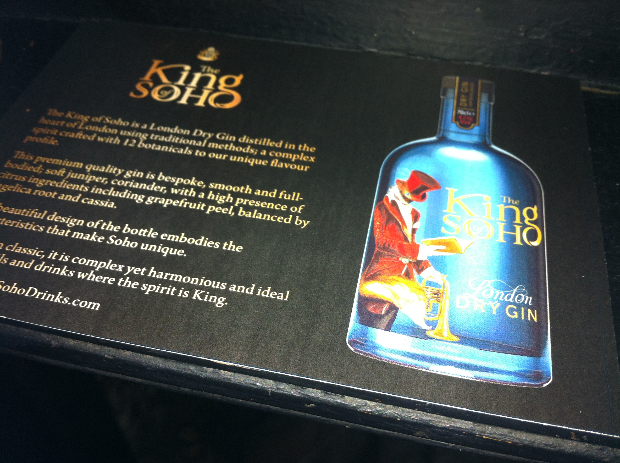 The legacy lives on - King of Soho dry gin